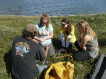 Educating high school students on gas sampling in the arctic.